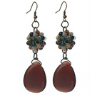 Vintage Style Indian Agate and Teardrop Shape Tiger Eye Dangle Earrings