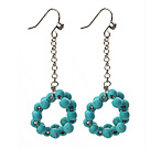 Dangle Style Ring Shape Turquoise Long Earrings with Metal Chain