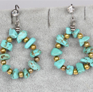 Irregular Shape Turquoise and Golden Color Metal Beads Big Loop Earrings