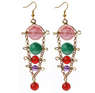 Wholesale Assorted Carnelian and Amethyst and Cherry Quartz and Malaysia Jade Dangle Multi Color Earrings
