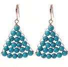 Fashion Style Fan Shape 6mm Blue Turquoise Earrings