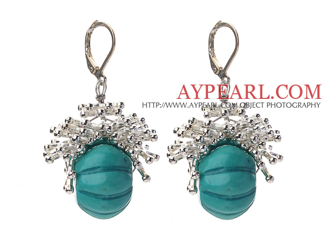 New Design Pumpkin Shape Turquoise and Metal Spacer Accessories Earrings