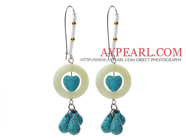 Fashion Style Donut Shape Serpentine Jade and Turquoise and Crystal Earrings