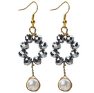 New Design White Freshwater Pearl and Tungsten Steel Color Crystal Dangle Earrings