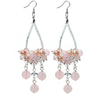 Pink Series Clear Crystal and Pink Crystal and Rose Quartz Earrings