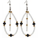 Assorted Black and Milk Color and Golden Color Crystal Earrings