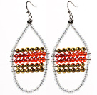 New Design Clear and Red and Golden Color Crystal Earrings