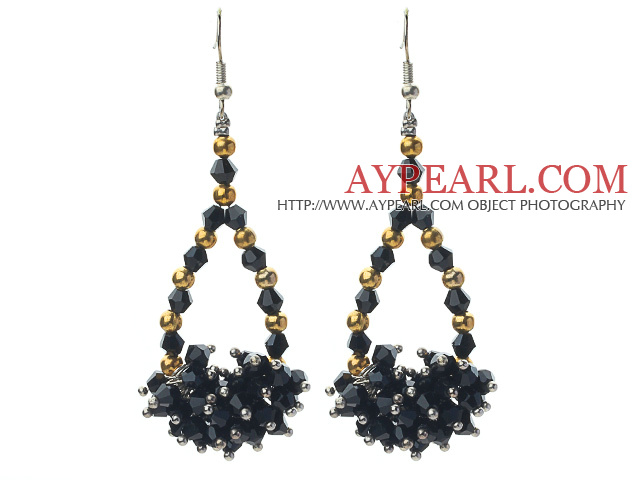 Assorted Black Crystal and Golden Color Metal Beads Drop Shape Earrings