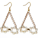 Triangle Shape Rutilated Quartz Earrings with Golden Color Metal Chain