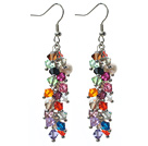 Assorted White Freshwater Pearl and Multi Color Austria Crystal Dangle Earrings