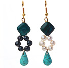 fashion white black freshwater pearl rhombus phoenix stone and teardrop turquoise dangle earrings