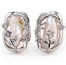 Beautiful Natural White Biwa Pearl And Flower Rhinestone Charm Ear Studs
