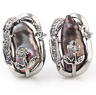 Beautiful Natural Purple Biwa Pearl And Flower Rhinestone Charm Ear Studs