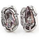 Beautiful Natural Purple Biwa Pearl And Flower Rhinestone Charm Ear Studs