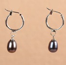 Fashion Hot Sale Natural Deep Gray Freshwater Pearl Earrings with Big Loop Hooks
