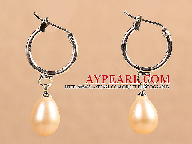 Fashion Hot Sale Natural Pink Freshwater Pearl Earrings with Big Loop Hooks