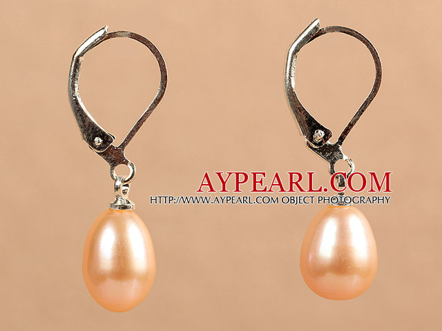 Popular Elegant Natural Drop Shape Pink Freshwater Pearl Earrings With Lever Back Hook
