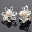 Natural White Freshwater Pearl And Faceted Manmade White Crystal Flower Clip-On Ear Studs