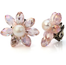 Natural White Ferskvann Pearl og fasettert Menneskeskapt Crystal Flower Clip -On Ear Studs