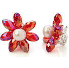 Fashion Natural White Freshwater Pearl And Faceted Manmade Red Crystal Flower Clip-On Ear Studs