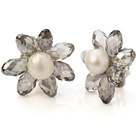 Fashion Natural White Freshwater Pearl And Faceted Manmade Gray Crystal Flower Clip-On Ear Studs