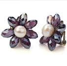 Fashion Natural White Freshwater Pearl And Faceted Manmade Purple Crystal Flower Clip-On Ear Studs