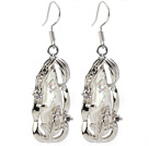 Classic Natural White Biwa Pearl Rhinestone Charm Dangle Earrings With Fish Hook
