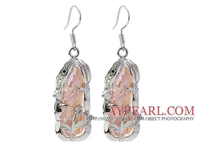 Classic Natural Pink Biwa Pearl Rhinestone Charm Dangle Earrings With Fish Hook