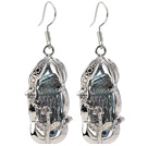 Classic Natural Black Biwa Pearl Rhinestone Charm Dangle Earrings With Fish Hook