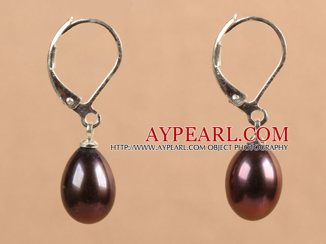 Popular Elegant Natural Drop Shape Black Red Freshwater Pearl Earrings With Lever Back Hook