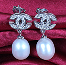 Fashion Elegant Natural White Freshwater Pearl Earring Studs With Rhinestone Accessory
