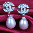 Fashion Elegant Natural Purple Freshwater Pearl Earring Studs With Rhinestone Accessory