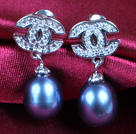 Fashion Elegant Natural Black Freshwater Pearl Earring Studs With Rhinestone Accessory