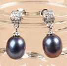 Classic Trendy Style Drop Shape Natural Black Freshwater Pearl Earring Studs With Rhinestone Accessory