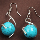 Fashion Lovely Design Blue Turquoise Bead Dangle Earrings
