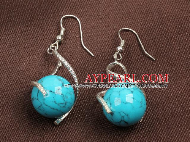 Fashion Lovely Design Blue Turquoise Bead Dangle Earrings