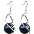 Fashion Lovely Design Natural Faceted Blue Agate Bead Dangle Earrings