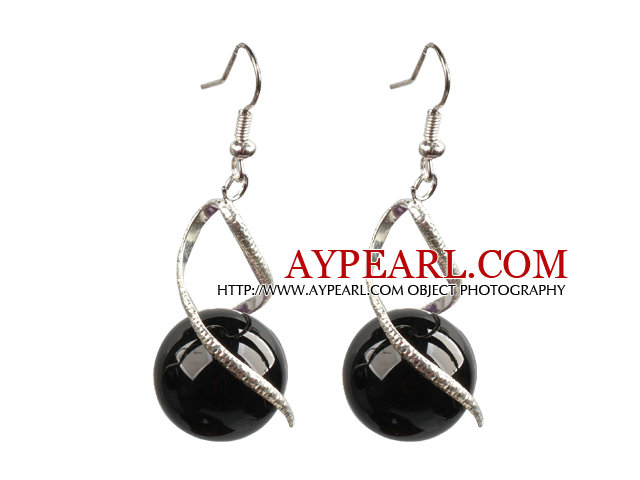 Fashion Lovely Design Natural Black Agate Bead Dangle Earrings