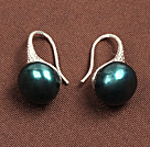Simple Style Natural Peacock Green Freshwater Pearl Earrings