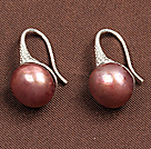 Simple Style Natural Gold Pink Freshwater Pearl Earrings