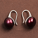 Simple Style Natural Wine Red Freshwater Pearl Earrings