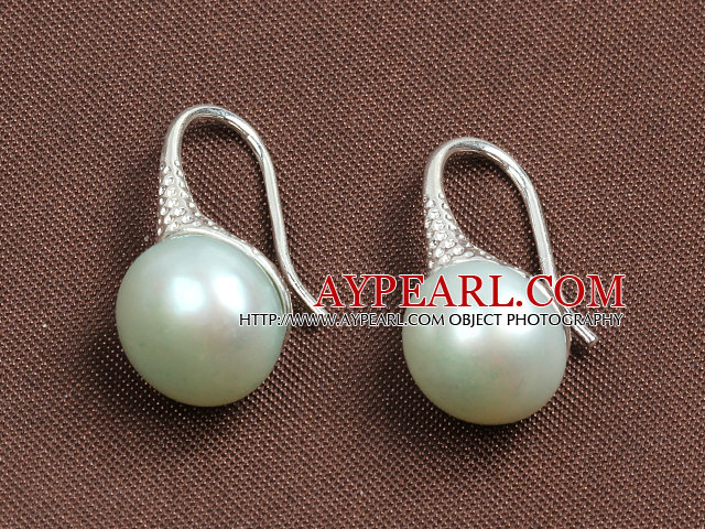 Simple Style Natural Mint Green Freshwater Pearl Earrings