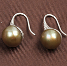 Simple Style Natural Golden Brown Freshwater Pearl Earrings