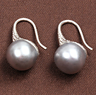 Simple Style Natural Grey Freshwater Pearl Earrings