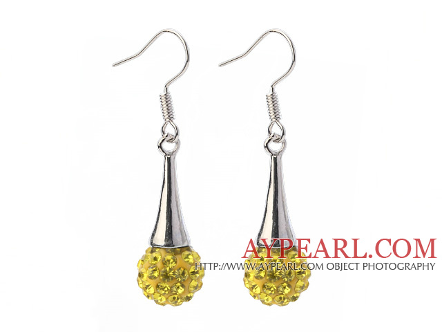 Fashion Simple Style 10mm Yellow Polymer Clay Rhinestone Horn Charm Earrings With Fish Hook