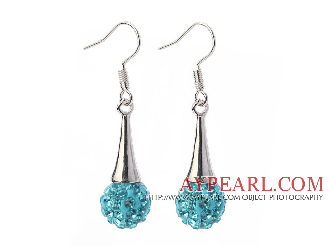 Nice Simple Style 10mm Sky Blue Polymer Clay Rhinestone Horn Charm Earrings With Fish Hook