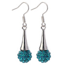 Nice Simple Style 10mm Blue Polymer Clay Rhinestone Horn Charm Earrings With Fish Hook