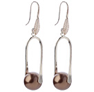 Nice Simple Style 12mm Round Coffee Brown Seashell Beads Dangle Earrings With Fish Hook