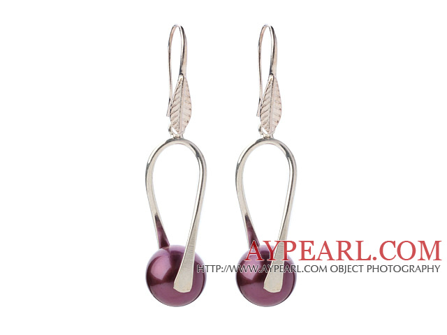 Nice Simple Style 12mm Round Purple Seashell Beads Dangle Earrings With Fish Hook