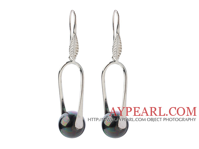 Fashion Simple Style 12mm Round Black AB Color Seashell Beads Dangle Earrings With Fish Hook